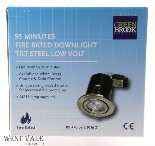 Greenbrook Polished Chrome 95 Minute Low Voltage Fire Rated Downlight With Tilt